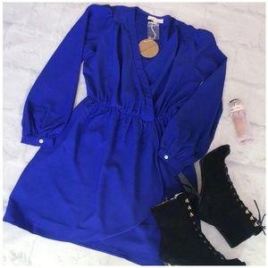 Honey Punch Stitch Fix Royal Blue Short Wrap Dress